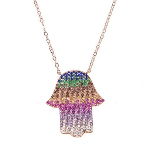 Multicolor HAMSA Necklace