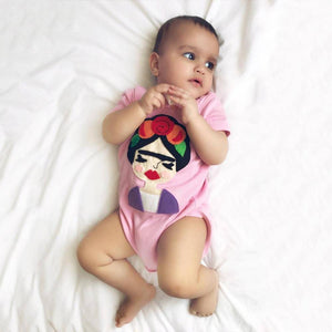 Frida Infant Bodysuit - Gray and Pink