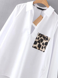 White Dip Hem Blouse With Leopard Pocket