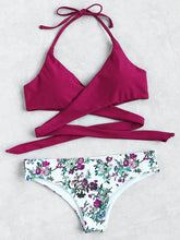 Load image into Gallery viewer, Floral Halter Wrap Knotted Back Bikini Set