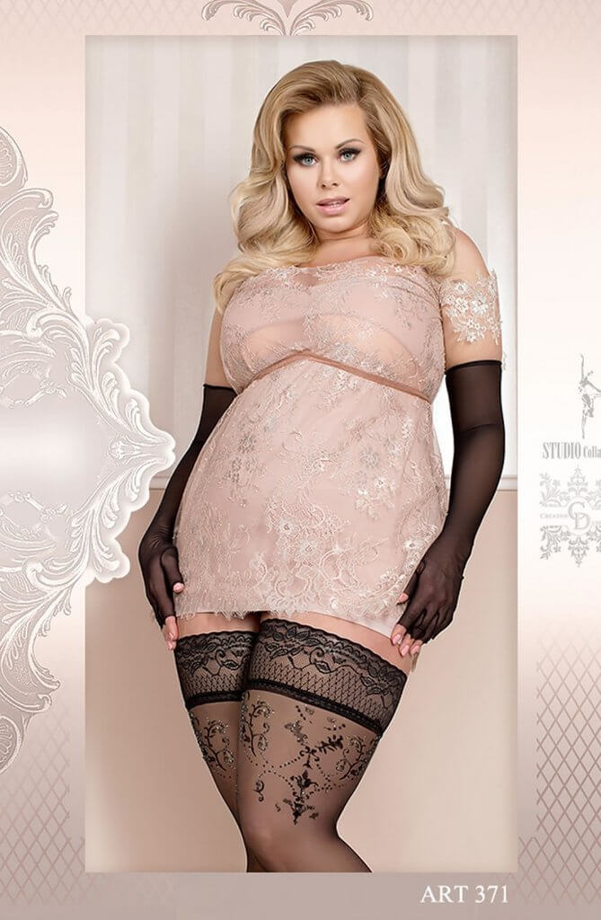 Ballerina Plus Size Lace Trim Hold Ups