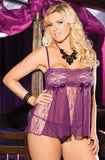 Shirley of Hollywood Plus Size Sheer Lace Babydoll