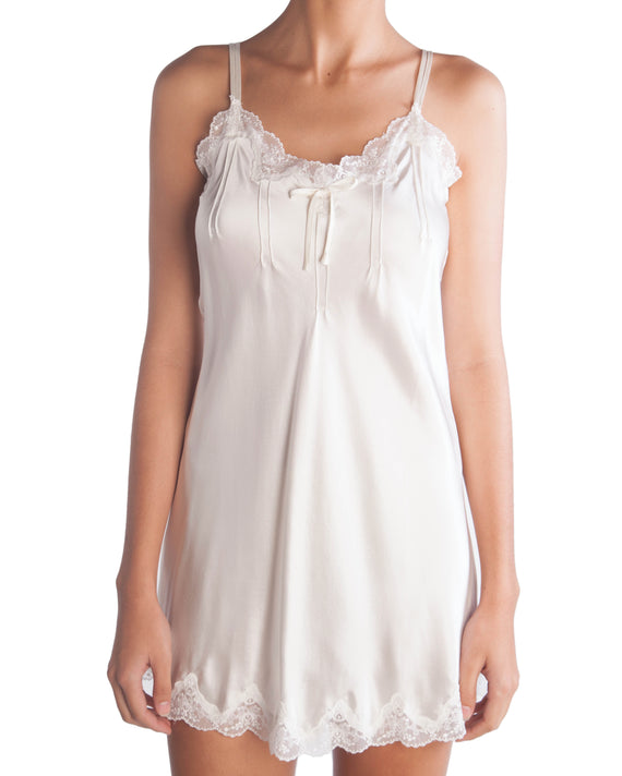 Ginia - Ivory Silk & Lace Chemise with Pintucks