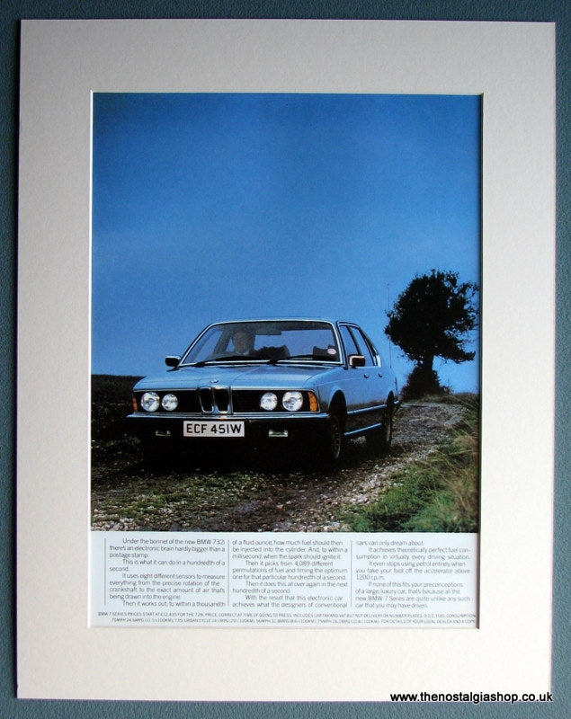 BMW 732i Classic Double Original Advert 1980. (ref AD1654)