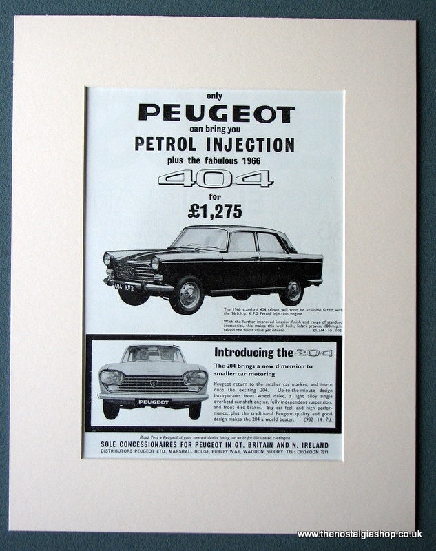 Peugeot 404 & 204 Original Advert 1966 (ref AD1403)