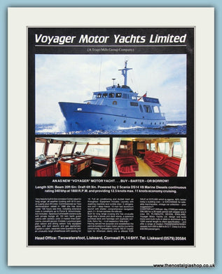 Voyager Motor Yachts Original Advert 1988 (ref AD2330)