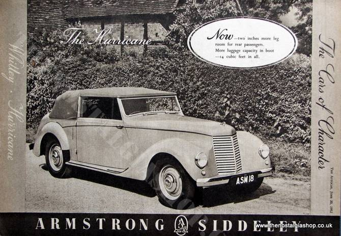 Armstrong Siddeley Hurricane 1952 Original Advert (ref AD1469)