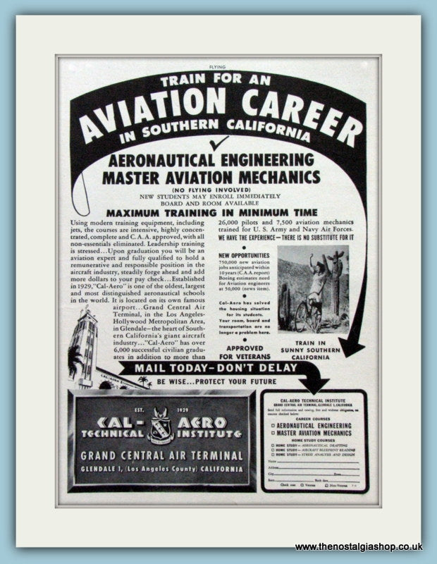 Southern California Aviation Career Original Advert  1948 (ref AD4229)