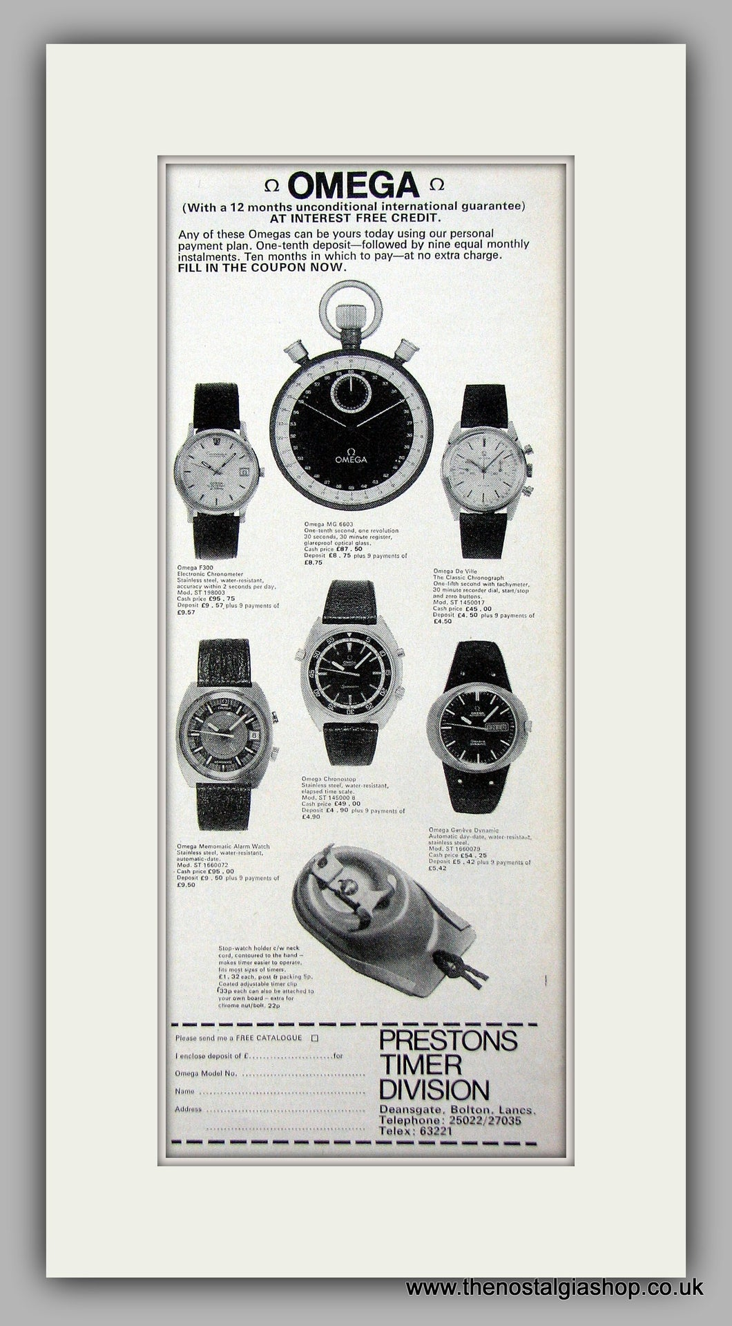 Omega  Watches. Original Advert 1973 (ref AD6862)
