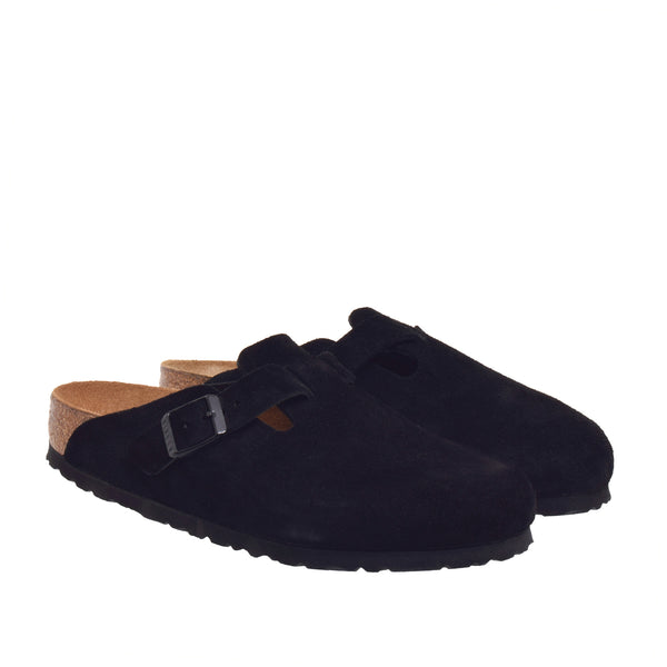 Boston Soft Footbed Suede Clog - Black