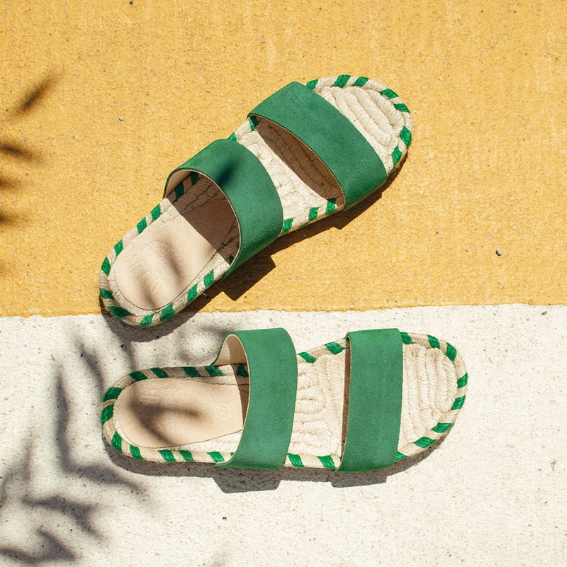 Dean Two Band Flat Espadrille - Green