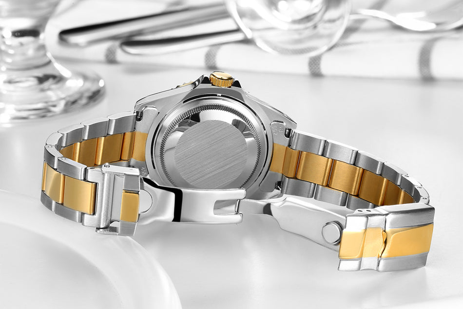 Luxury Silver/Gold/Dual Tone Automatic Stainless Steel Watch