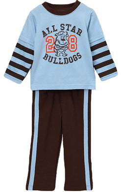 Blue 'All Star Bulldogs' Layered Tee & Pants