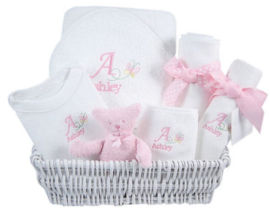 Personalized Luxury Baby Butterfly Layette Baskets