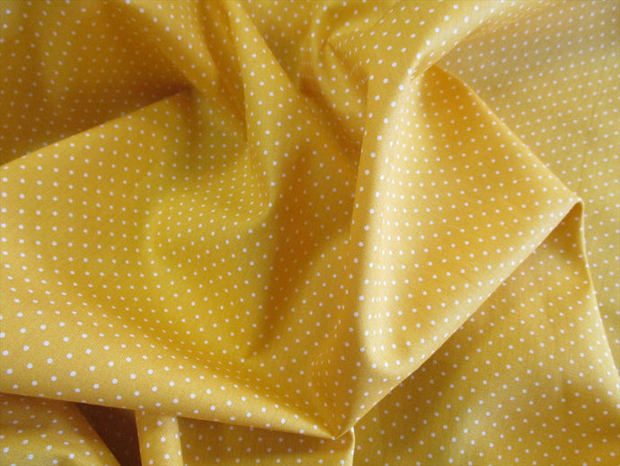 Pin Spot White on a Bright Yellow Background 100% Cotton
