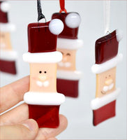Fused Glass Santa Tree Ornaments