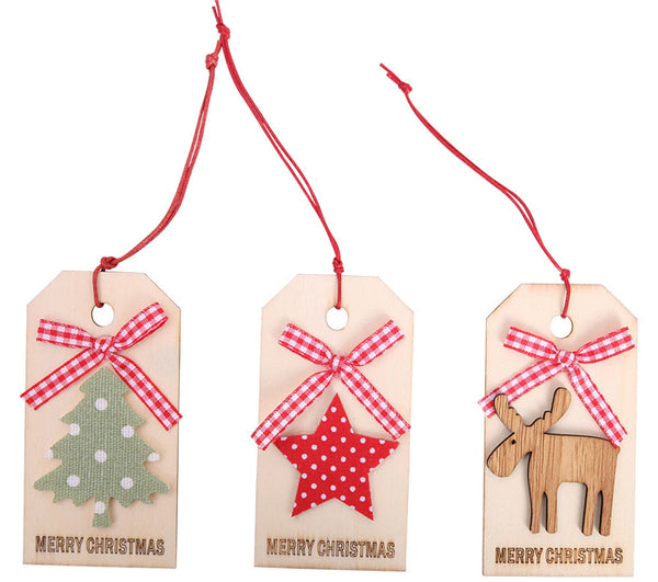 3 Wood Tree Ornaments or Gift Tags