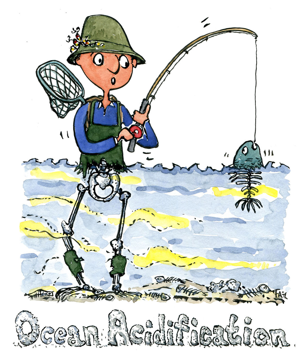 fisherman fishing in ocean where fish turns to skeletons, illustration by Frits Ahlefeldt