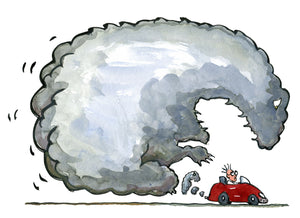 Scientist man in red sportscar with a climate monster coming from the exhaust pipe. Drawing by Frits Ahlefeldt