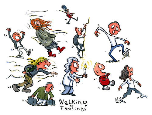 Walking styles illustration by Frits Ahlefeldt
