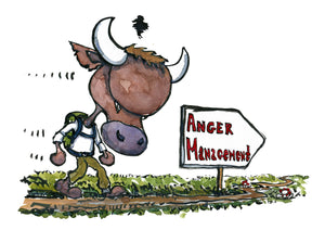 drawing of an angry bull walking to anger management. illustration by Frits Ahlefeldt
