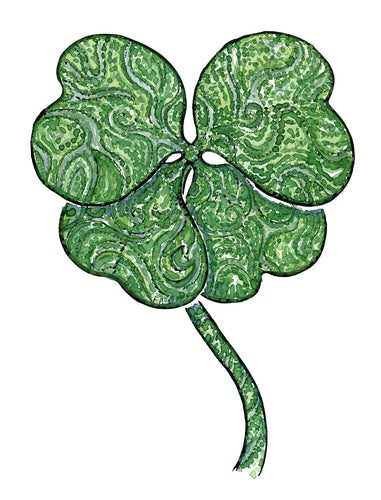 lucky four clover illustration by frits Ahlefeldt