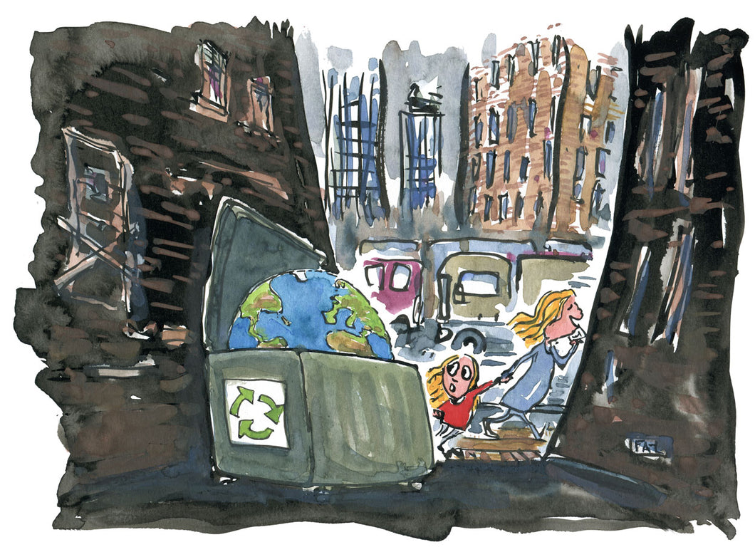 Planet Earth in a dumpster mother and girl walking by. illustration by Frits Ahlefeldt