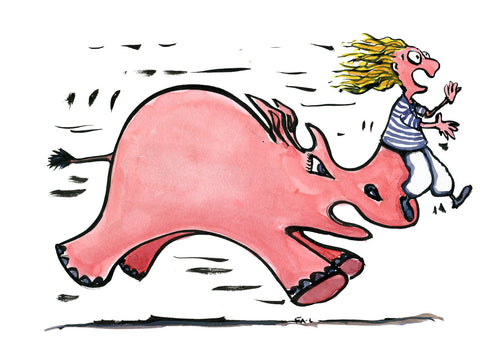 illustration of a woman caught on the horn of a  pink rhino. illustration by Frits Ahlefeldt