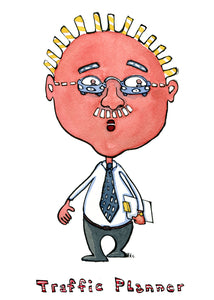 cartoon illustration of city planner