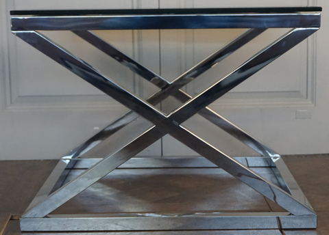CAMBRIDGE GLASS CROSS STAINLESS STEEL SIDE TABLE - SMALL - CLOSING DOWN PRICE - WAS $499