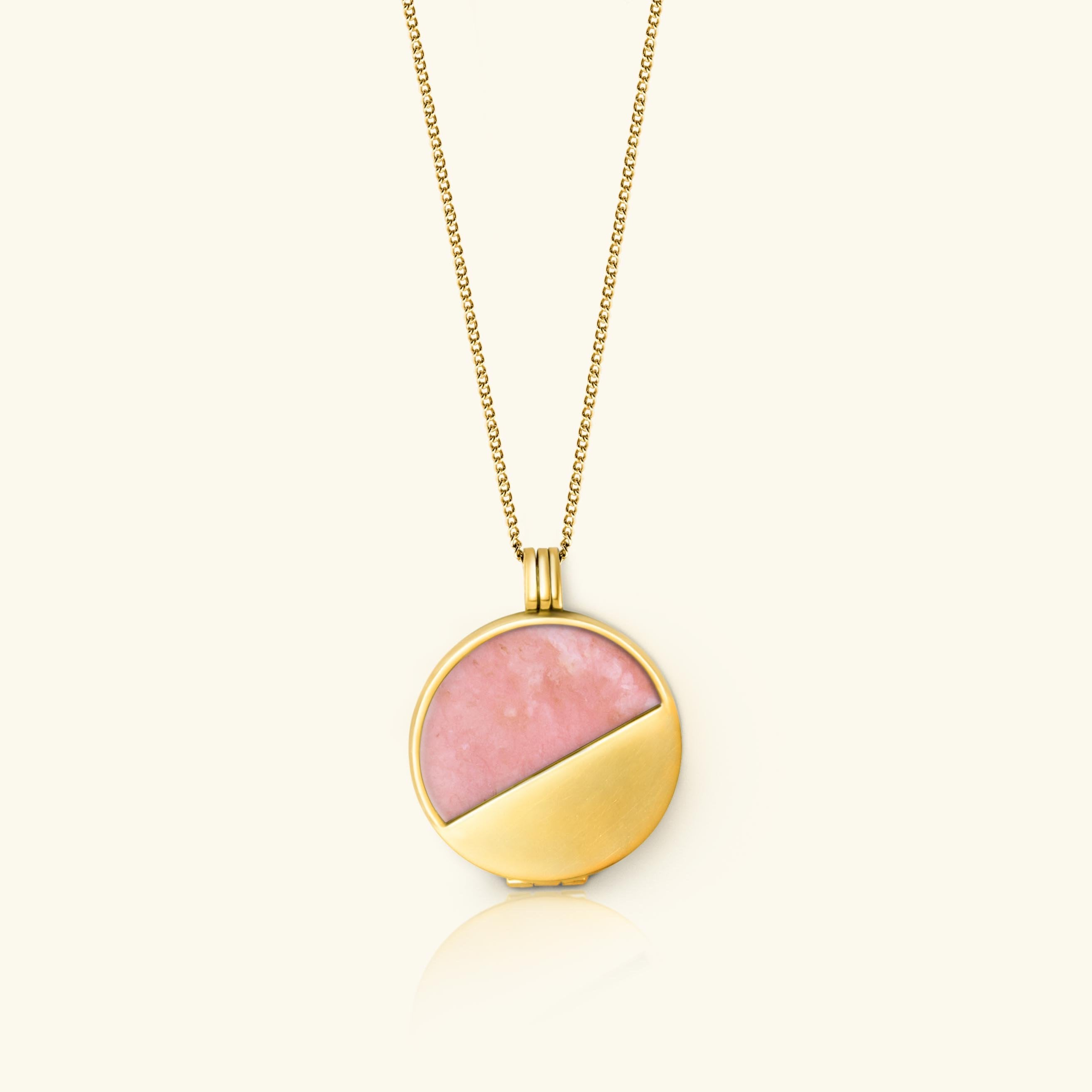 pink opal Half Moon Locket 18 carat gold