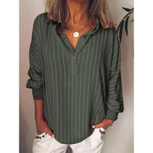 Stripes V Neck Casual Long Sleeve Plus Size Blouses