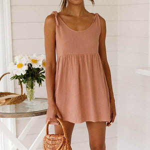 Sweet Solid Color Sleeveless Dress