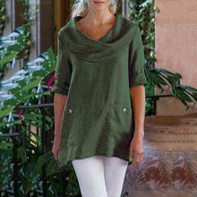 Pocket Long Sleeve Cowl Neck Blouse