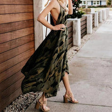 Sexy Halter Neck Irregular Printed Dress