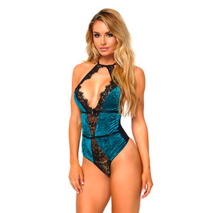 Leg Avenue Teal Velvet Teddy Playsuit