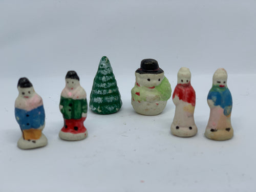 Lot including tiny people, tree, snowman