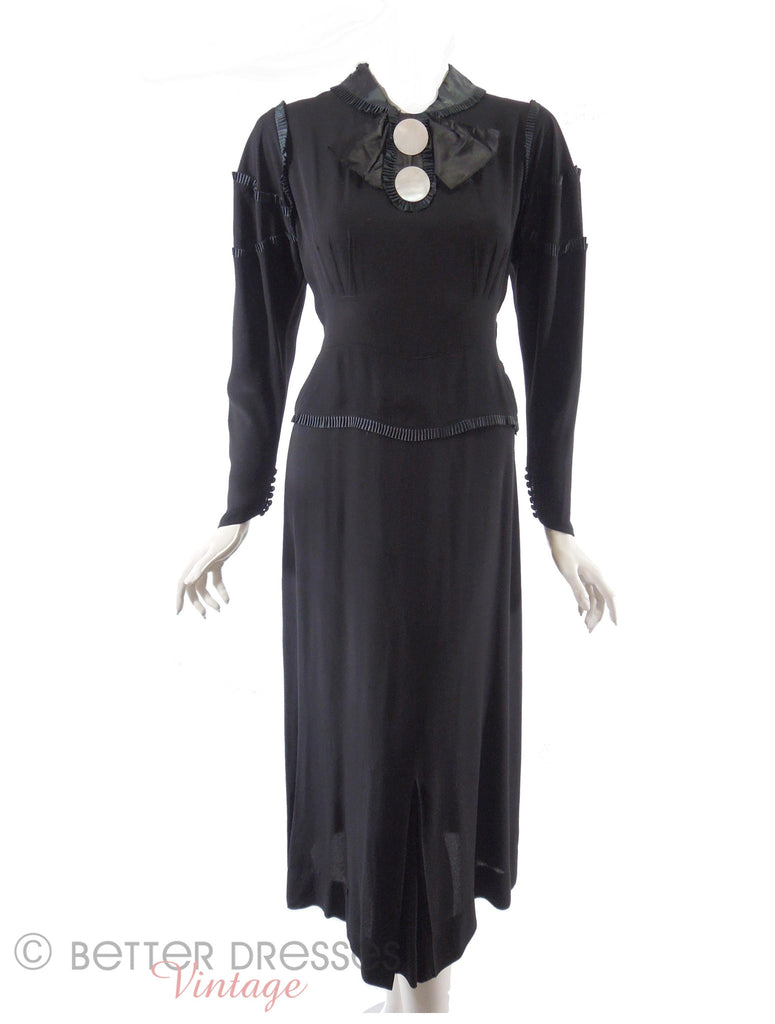 20s or 30s Black Crepe Dress - tied in back
