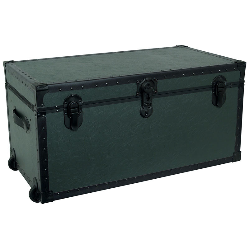 "Footlocker Trunk with Wheels and Tray, 31"", Black Hardware, Olive"