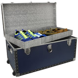 "Footlocker Trunk with Wheels and Tray, 31"", Nickel Hardware, Blue"