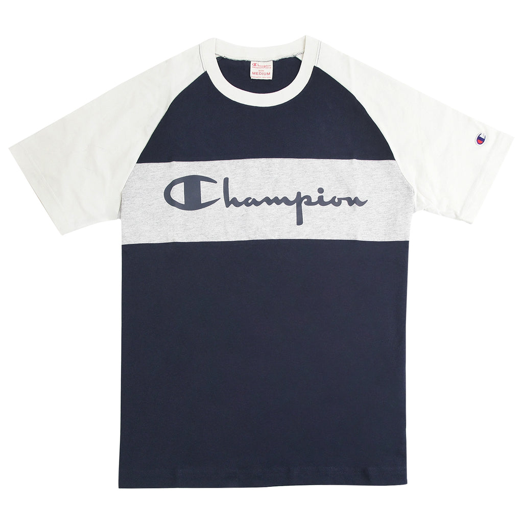 Champion Crewneck Raglan T Shirt in Navy / Stone / Grey Marl