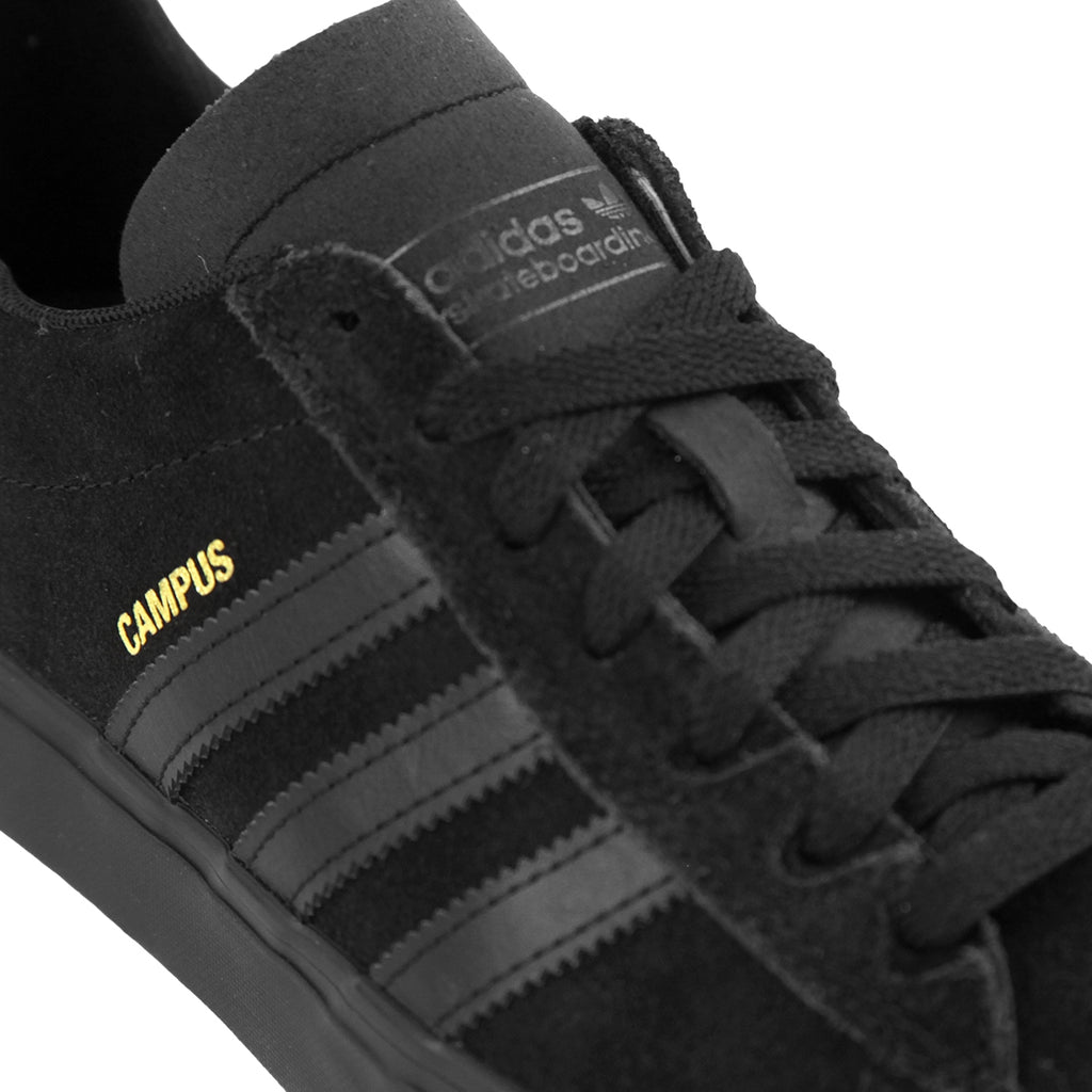 Adidas Skateboarding Campus Vulc II Shoes in Core Black / Core Black / Core Black - Detail