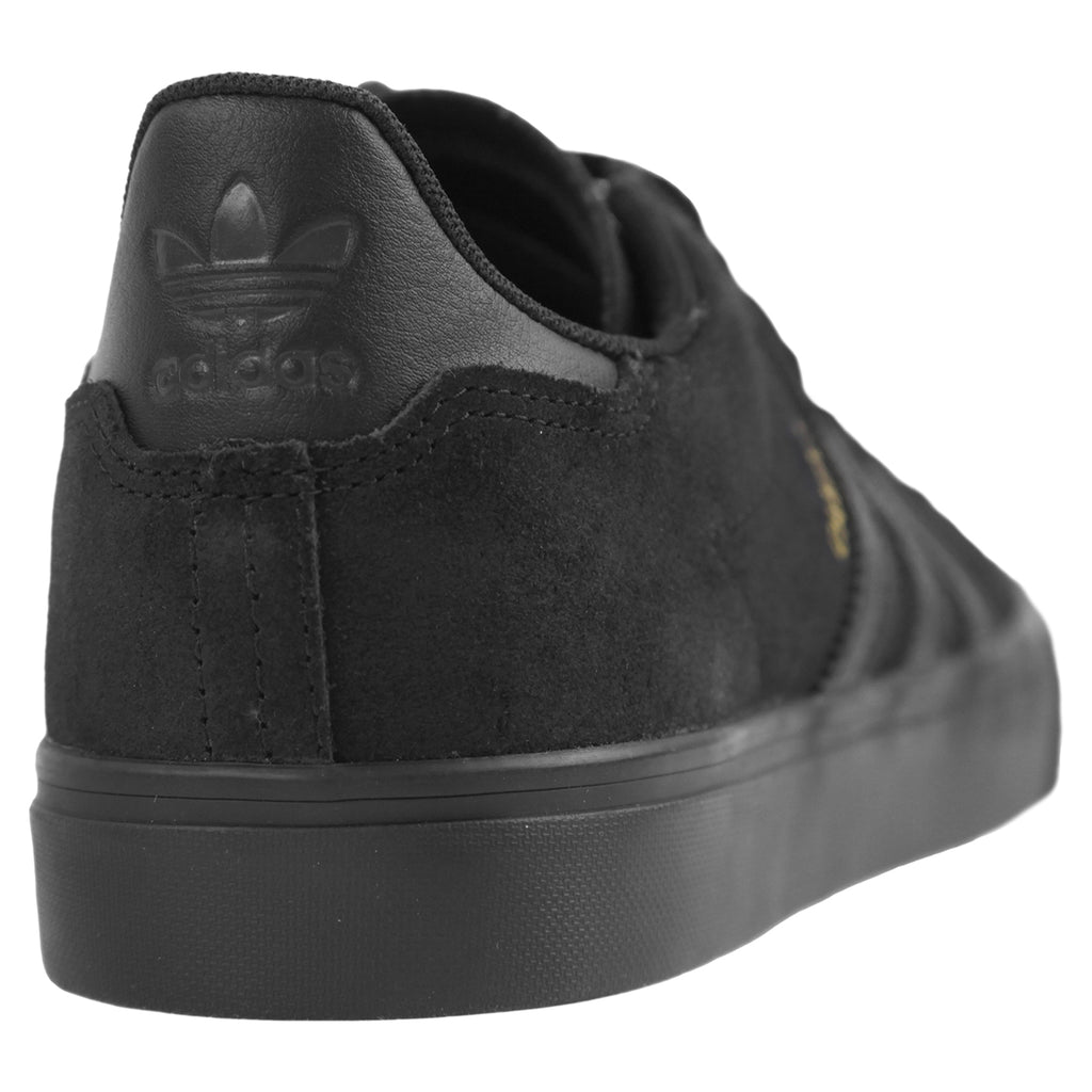 Adidas Skateboarding Campus Vulc II Shoes in Core Black / Core Black / Core Black - Heel