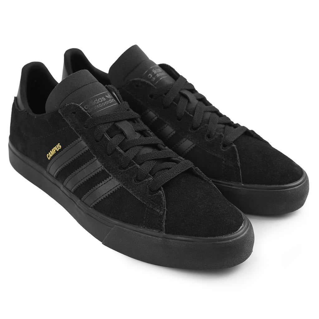 Adidas Skateboarding Campus Vulc II Shoes in Core Black / Core Black / Core Black - Pair