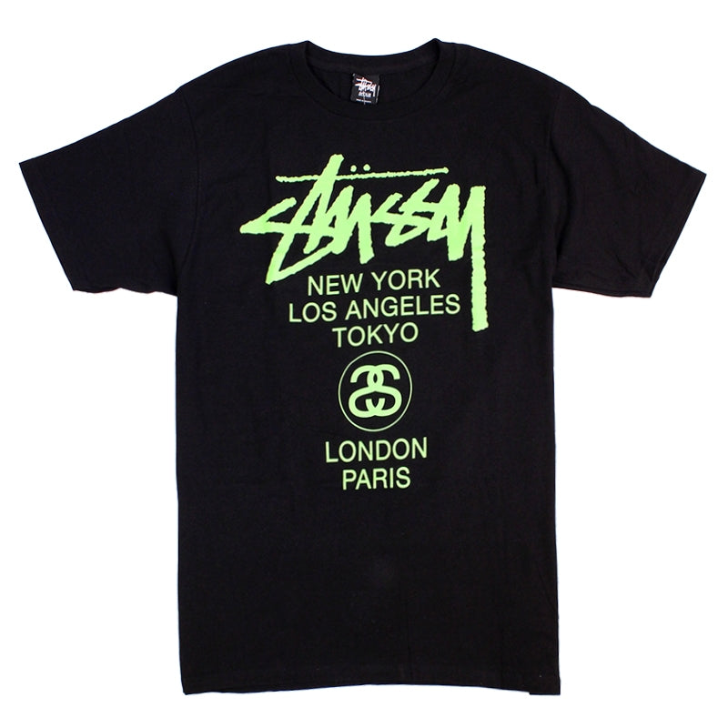 Stussy World Tour T Shirt in Black / Green