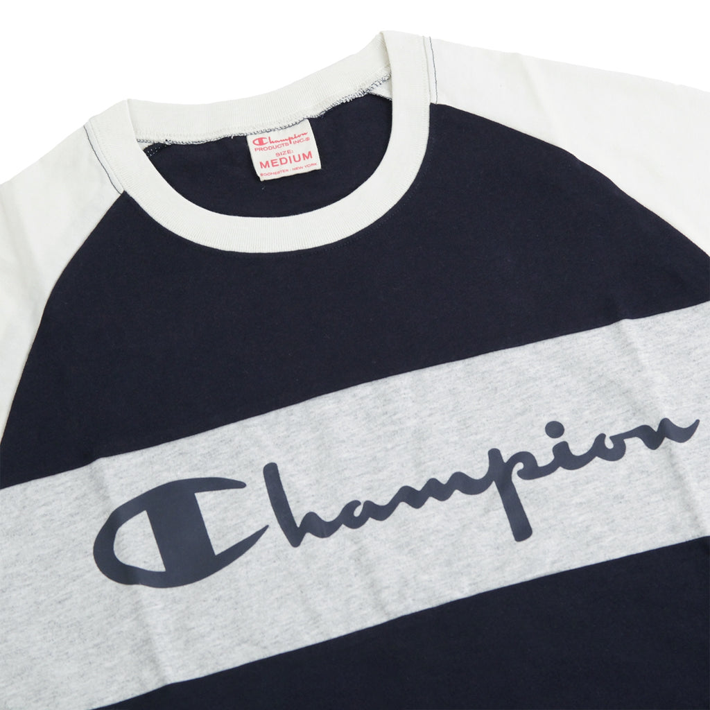 Champion Crewneck Raglan T Shirt in Navy / Stone / Grey Marl - Detail