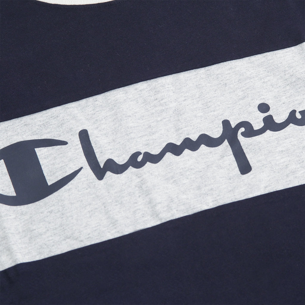 Champion Crewneck Raglan T Shirt in Navy / Stone / Grey Marl - Pair