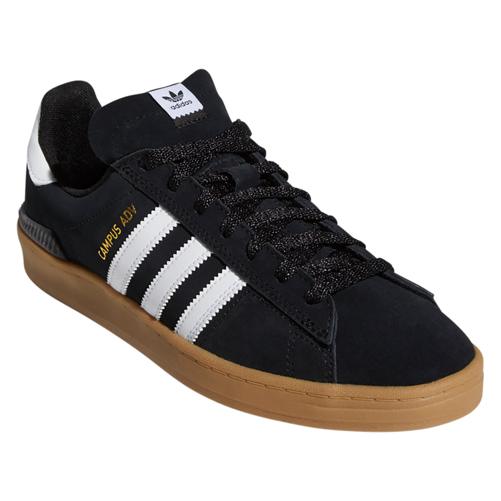 Adidas Campus ADV Shoes in Core Black / Footwear White / Gum 4 - Side angle