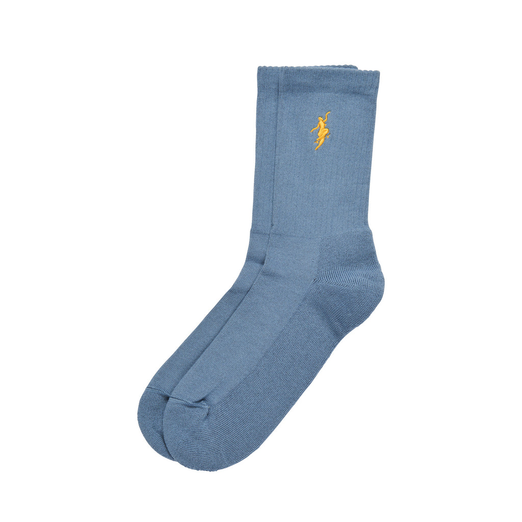 Polar Skate Co No Comply Socks in Slate Blue / Yellow