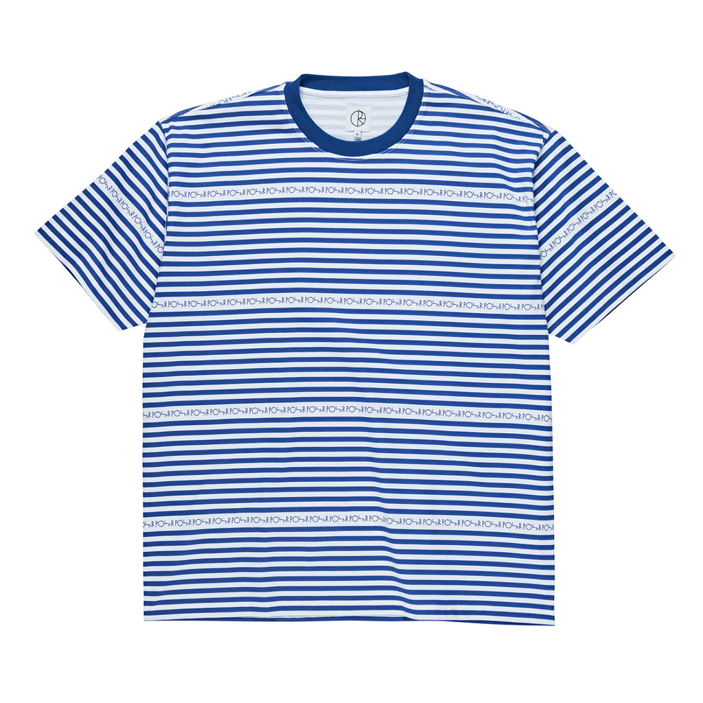 Polar Skate Co Stripe Logo T Shirt in Dark Blue